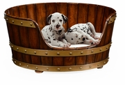495052-SML-WAL Jonathan Charles Country Farmhouse Small Walnut Wooden Dog Bed