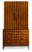 495057 Jonathan Charles Alexander Julian Houndstooth Drink Cabinet with Light Walnut On Marquetry Veneer Finish