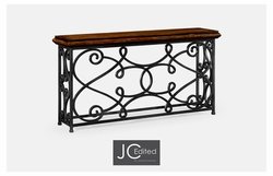 "495064-72L-RWL Jonathan Charles Fine Furniture JC Edited - Artisan 72"" Width Rectangular Rustic Walnut Console With Wrought Iron Base"