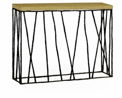 495087-BRO Jonathan Charles Fine Furniture JC Modern - Stiletto Hammered Antique Black Brass Console With Celadon Top