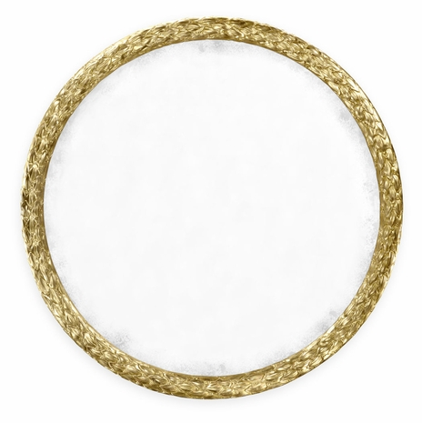 """495149-WTG Jonathan Charles Versailles Carved And Water Gilded Gold Leaf 48"""" Round Hanging Wall Mirror"""