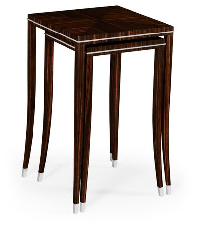 495160-AMA Jonathan Charles Fine Furniture JC Modern - Soho Macassar Ebony Nesting Tables With White Brass Detail