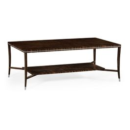 495166-AMA Jonathan Charles Contemporary/Modern JC Modern - Soho Collection Macassar Ebony Coffee Table With White Brass Detail
