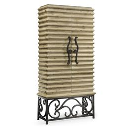 495170-LMA Jonathan Charles Casual JC Edited - Artisan Collection Limed Wood Wine Cabinet With Wrought Iron Base