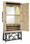 495170-LMA Jonathan Charles Fine Furniture JC Edited - Artisan Limed Wood Wine Cabinet With Wrought Iron Base