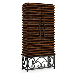 495170-RWL Jonathan Charles Casual JC Edited - Artisan Collection Rustic Walnut Wine Cabinet With Wrought Iron Base