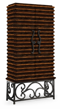 495170-RWL Jonathan Charles Fine Furniture JC Edited - Artisan Rustic Walnut Wine Cabinet With Wrought Iron Base