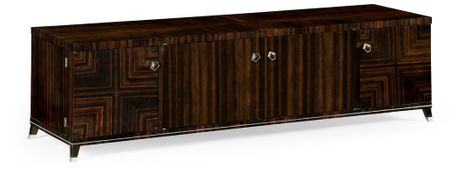 495176-AMA Jonathan Charles Fine Furniture JC Modern - Soho Macassar Ebony Tv Cabinet With White Brass Detail