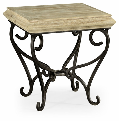 495178-LMA JC Edited Artisan Limed Wood Square Side Table With Wrought Iron Base
