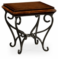 495178-RWL Jonathan Charles Fine Furniture JC Edited - Artisan Rustic Walnut Square Side Table With Wrought Iron Base