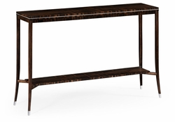 495186-AMA Jonathan Charles Fine Furniture JC Modern - Soho Macassar Ebony Narrow Console With White Brass Detail