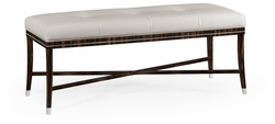 495188-AMA-L014 Jonathan Charles Fine Furniture JC Modern - Soho Macassar Ebony Bench, Upholstered In White Leather