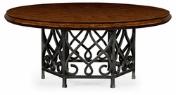 "495198-72D-RWL Jonathan Charles Fine Furniture JC Edited - Artisan 72"" Rustic Walnut Dining Table With Wrought Iron Base"