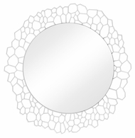 "495200-WHB Jonathan Charles Fine Furniture JC Modern - Soho 45"" Circular White Brass Woven Net Mirror"