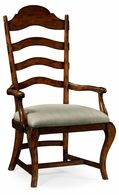 495293-AC-RWL-F001 Jonathan Charles Fine Furniture JC Edited - Artisan Rustic Walnut Dining Armchair, Upholstered In Mazo