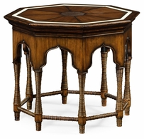 495300-RWL Jonathan Charles Moroccan Octagon Rustic Walnut Center Table With Bones Inlay
