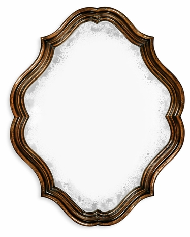 495323-RWL Jonathan Charles Moroccan Rustic Walnut Oval Antique Mirror