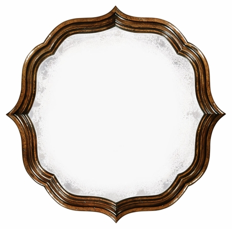 495324-RWL Jonathan Charles Moroccan Rustic Walnut Round Antique Mirror
