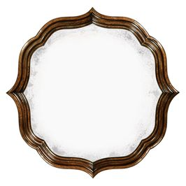 495324-RWL Jonathan Charles Traditional Moroccan Collection Rustic Walnut Round Antique Mirror