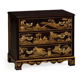 495353-EBF Jonathan Charles Traditional Kensington Collection Chinoiserie Style Ebonised Bedside Chest Of Drawers