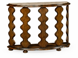 495386-RWL Jonathan Charles Fine Furniture JC Edited - Artisan Demilune Console Table In Rustic Walnut