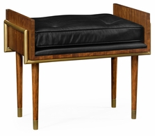 495388-DLF-L012 Jonathan Charles Fine Furniture JC Modern - Cosmo Cosmo Hyedua Stool, Upholstered In Black Leather
