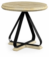 495408-LMA Jonathan Charles Fine Furniture JC Edited - Artisan Round Side Table With Iron Base In Limed Acacia