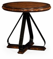 495408-RWL Jonathan Charles Fine Furniture JC Edited - Artisan Round Side Table With Iron Base In Rustic Walnut