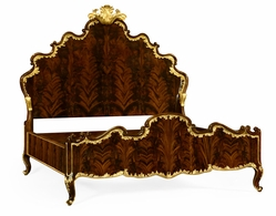 495505-USQ-BMA Jonathan Charles Monte Carlo Us Queen High Lustre Mahogany & Gilded Bed