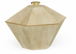 495512-EC003 Jonathan Charles Fine Furniture JC Modern - Indochine Dutch White Eggshell Hexagonal Box