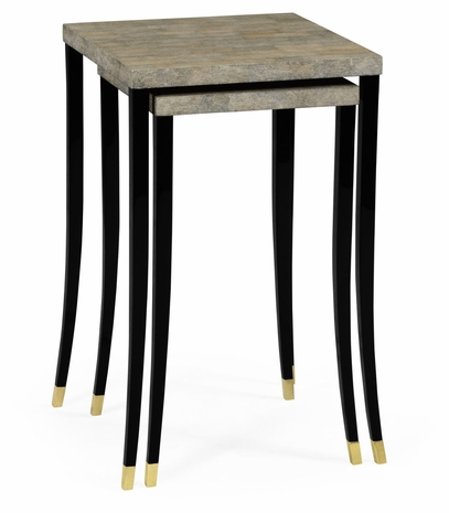 495525-EC002 JC Modern Indochine Black Brushed Eggshell Nesting Tables