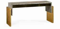 495534-EC002 Jonathan Charles Fine Furniture JC Modern - Eclectic Rectangular Eggshell & Gilded Console Table