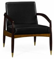 495586-DLF-L012 Jonathan Charles Fine Furniture JC Modern - Cosmo Contemporary Hyedua & Ebonised Occasional Chair, Upholstered In Black Leather