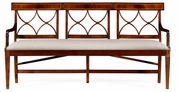 495627-MAH-F001 Jonathan Charles Buckingham Three Seater Regency Mahogany Bench, Upholstered In Mazo