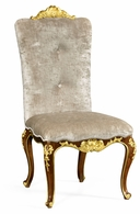 495639-SC-BMA-F005 Jonathan Charles Monte Carlo Dining Side Chair With Gilt Carved Detailing, Upholstered In Calico Velvet