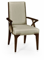 495647-AC-BEC-F001 Jonathan Charles Fine Furniture JC Modern - Belgravia Black Eucalyptus Dining Armchair, Upholstered In Mazo