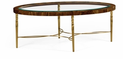 495649-TWC Jonathan Charles Oval coffee table in Tropical walnut crotch with brass base