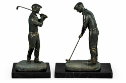 495666-DBR Jonathan Charles Curated Pair Of Dark Antique Bronze Golfer Bookends