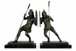 495667-DKB Jonathan Charles Curated Pair Of Dark Bronze Combatant Bookends