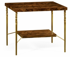 495672-TWC Jonathan Charles Clean & Classic Square Side Table In Tropical Walnut Crotch With Brass Base