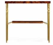 495673-TWC Jonathan Charles Clean & Classic Console Table In Tropical Walnut Crotch With Brass Base
