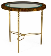 495674-TWC Jonathan Charles Round side table in Tropical walnut crotch with brass base