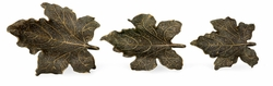 495685-DRB Jonathan Charles Curated Three Rustic Bronze Leaf Dishes
