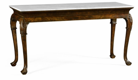 495728-LBM Jonathan Charles Brompton Brown Mahogany Buffet Table With Marble Top