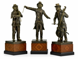 495763-DBR Jonathan Charles Curated Antique Dark Bronze Monkey Orchestra Set