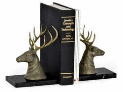 495767-BLT Jonathan Charles Curated Pair Of Light Brass Deer Mounted Bookends