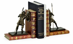 495770-DBR Jonathan Charles Curated Pair Of Antique Dark Bronze Roman Gladiator Bookends