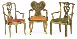 495771-BLT Jonathan Charles Curated Set Of Light Brass Miniature Dining Chairs