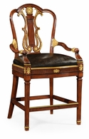 495802-BS-MAH-L009 Jonathan Charles Buckingham Neo-Classical Gilded Lyre Back Bar Stool Armchair, Upholstered In Black Leather