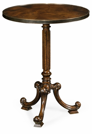 495823-LBM Jonathan Charles Brompton Brown Mahogany Lamp Table With Brass Moulding